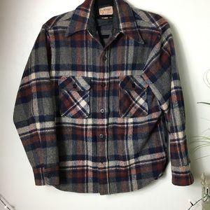 Thick Wool Plaid Vintage Shirt Jacket Union Made